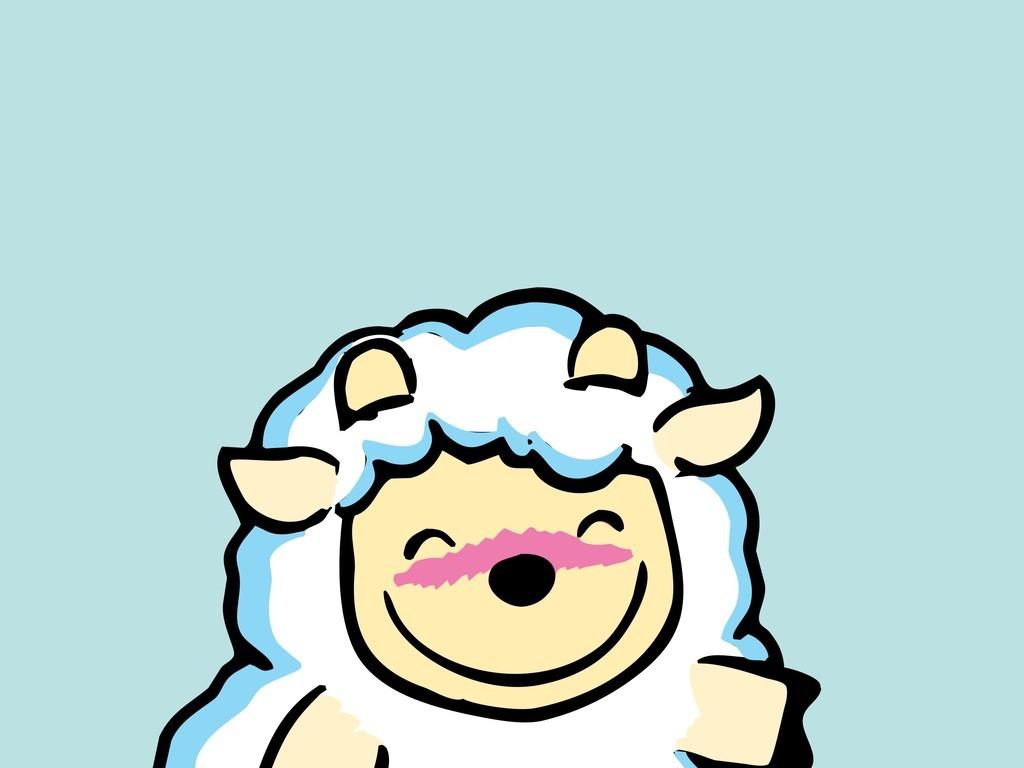 卡通动物场景插画绵羊