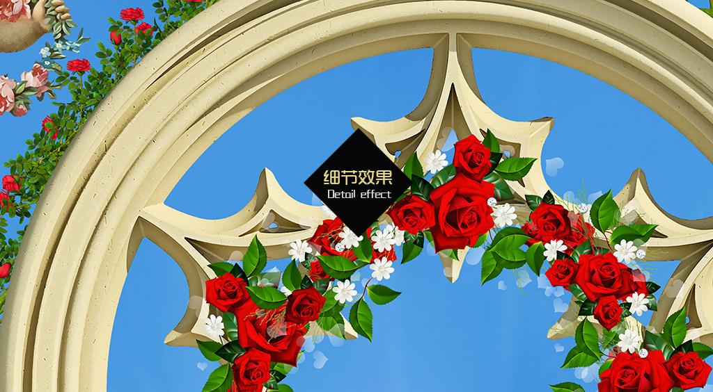 天顶欧式天顶小天使蓝天花卉欧式吊顶吊顶花园天使