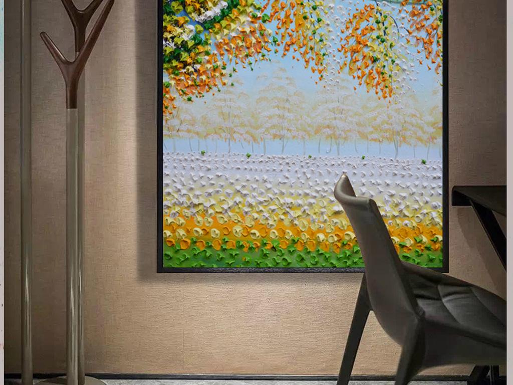 浪漫田园立体油画纯手绘装饰玄关