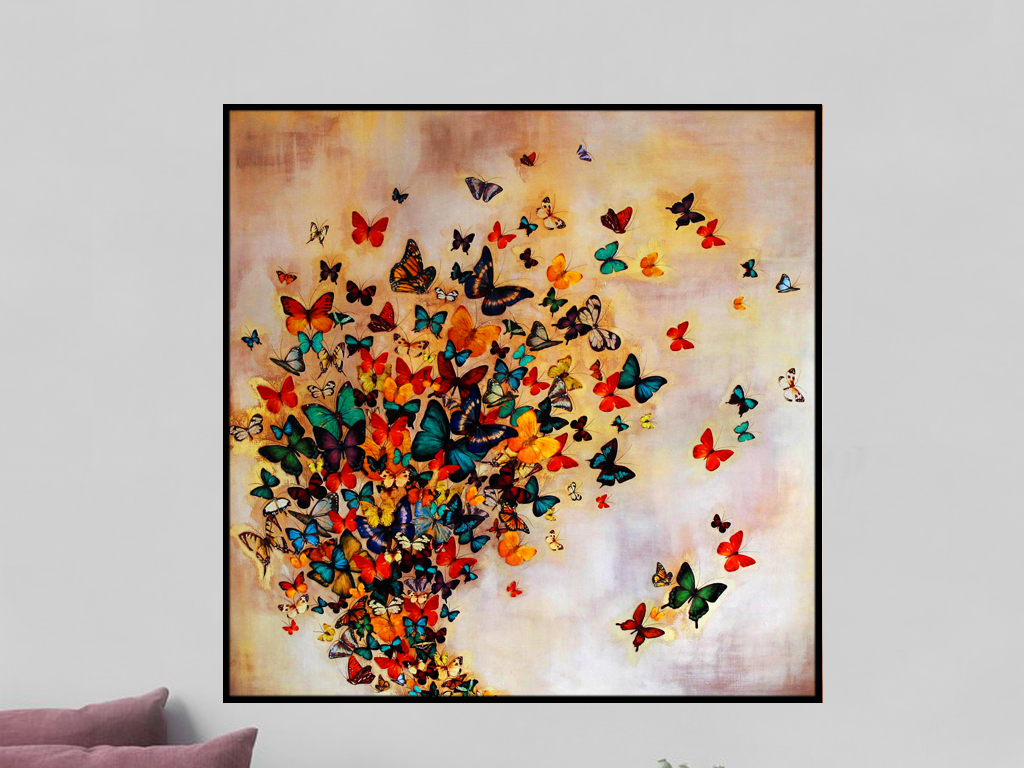 创意手绘蝴蝶艺术纷飞蝴蝶装饰画 位图, rgb格式高清大图,使用软件为