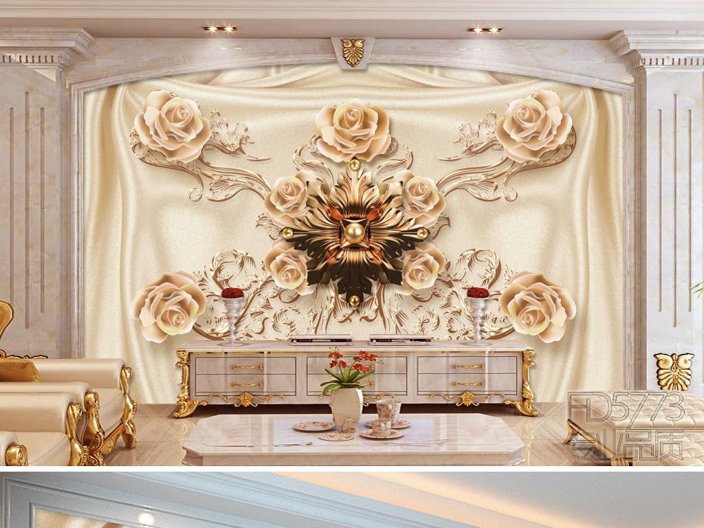 新款大气奢华欧式珠宝花朵软装电视背景墙图片