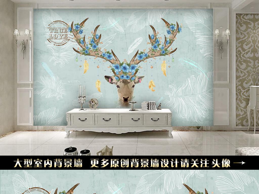 复古手绘鹿头电视背景墙