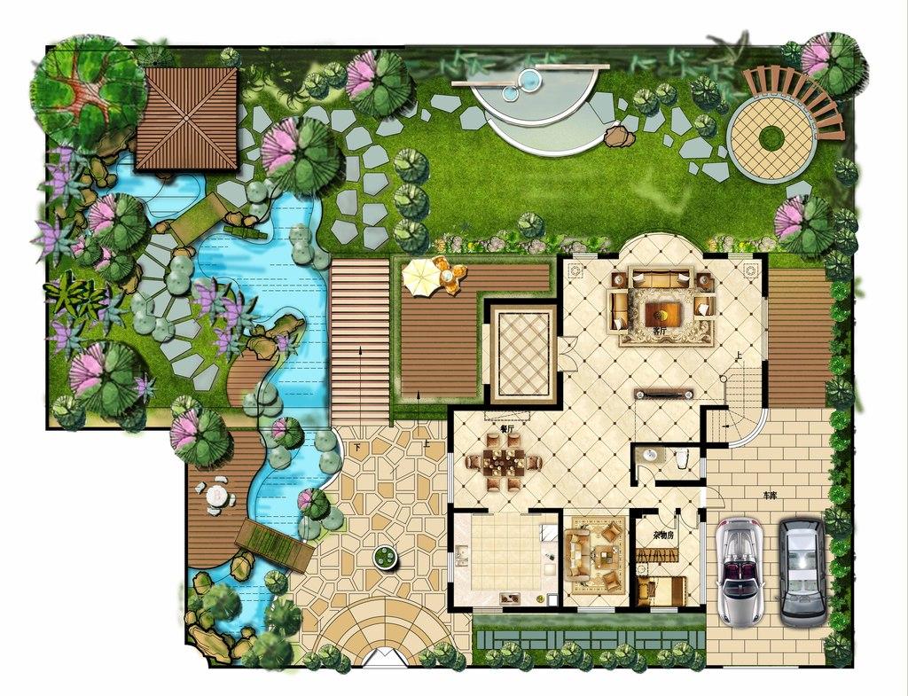psd)手绘高清分层素材室外彩色花园高清花园花园别墅