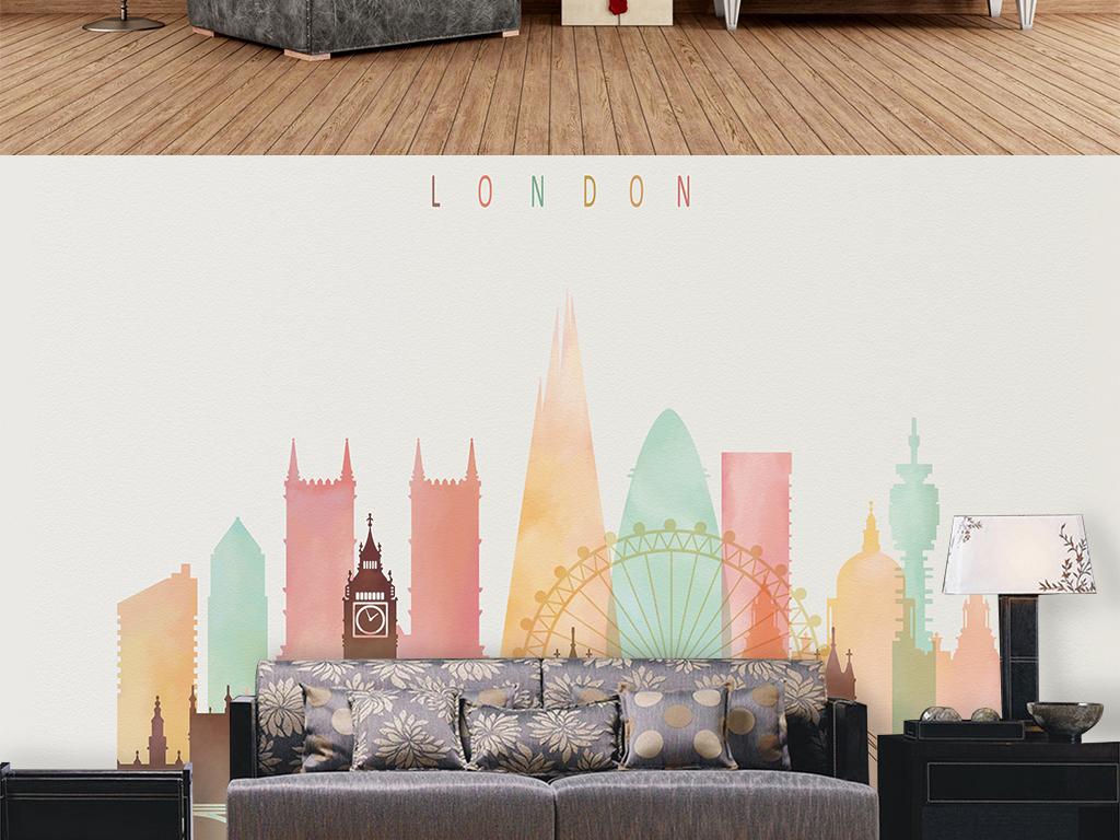手绘现代城市英国装饰画背景墙