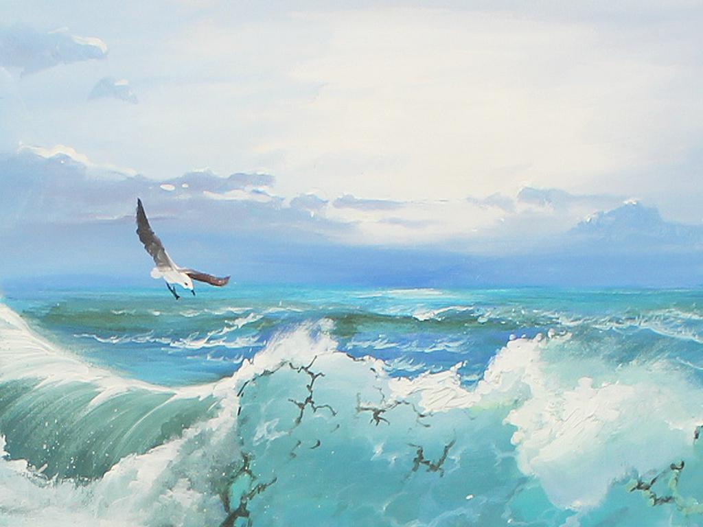 纯手绘油画海浪海景风景油画客厅淘宝装饰画