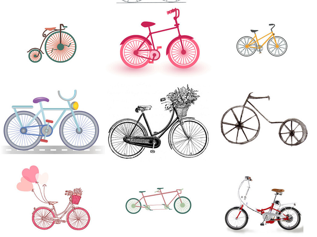 卡通儿童自行车免抠图片设计素材1