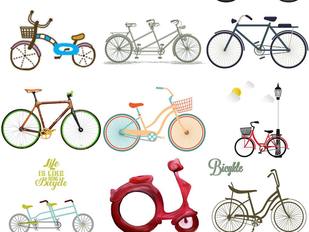 卡通儿童自行车免抠图片设计素材2图片下载png素材 效果素材