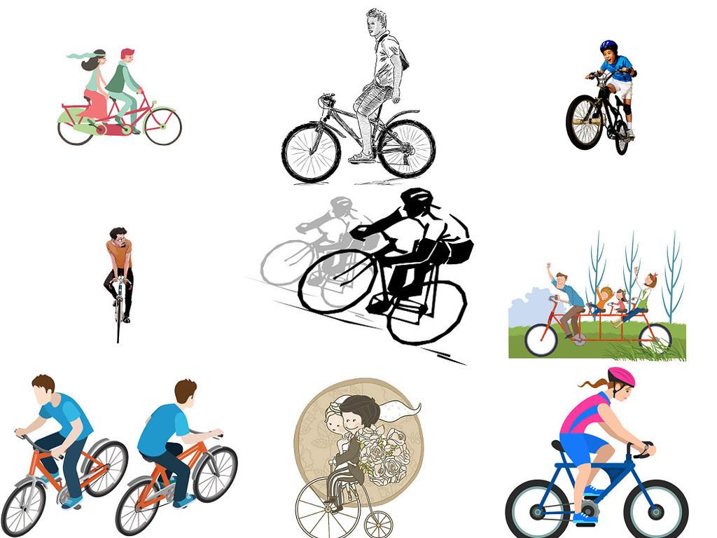 骑单车骑自行车卡通图片免抠素材3
