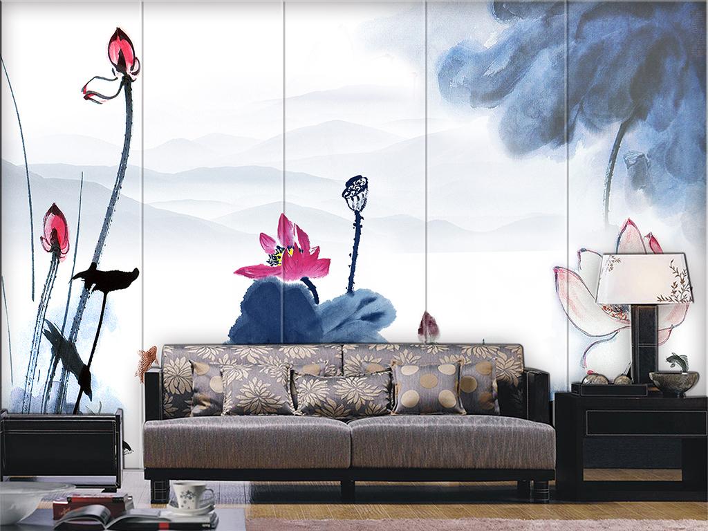新中式水墨江南荷花山水背景墙壁画图片