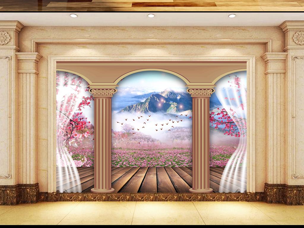 欧式罗马柱风景3d电视背景墙图片