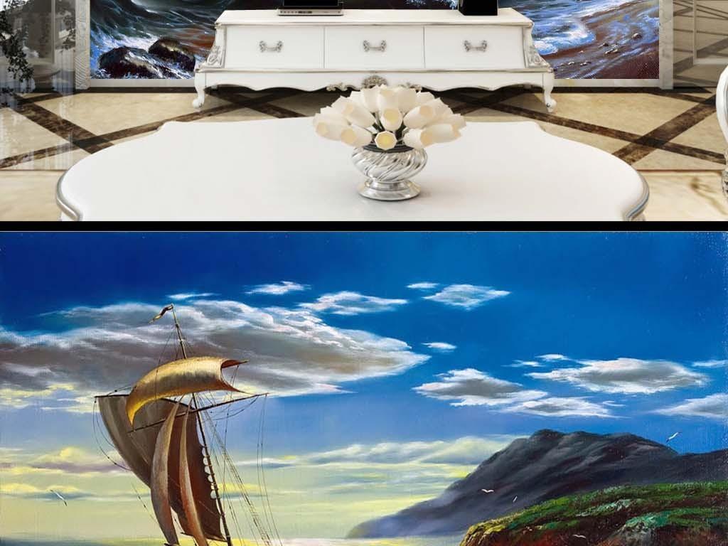 乐队动物山水巨幅装饰画挂画海景海浪电视背景电视