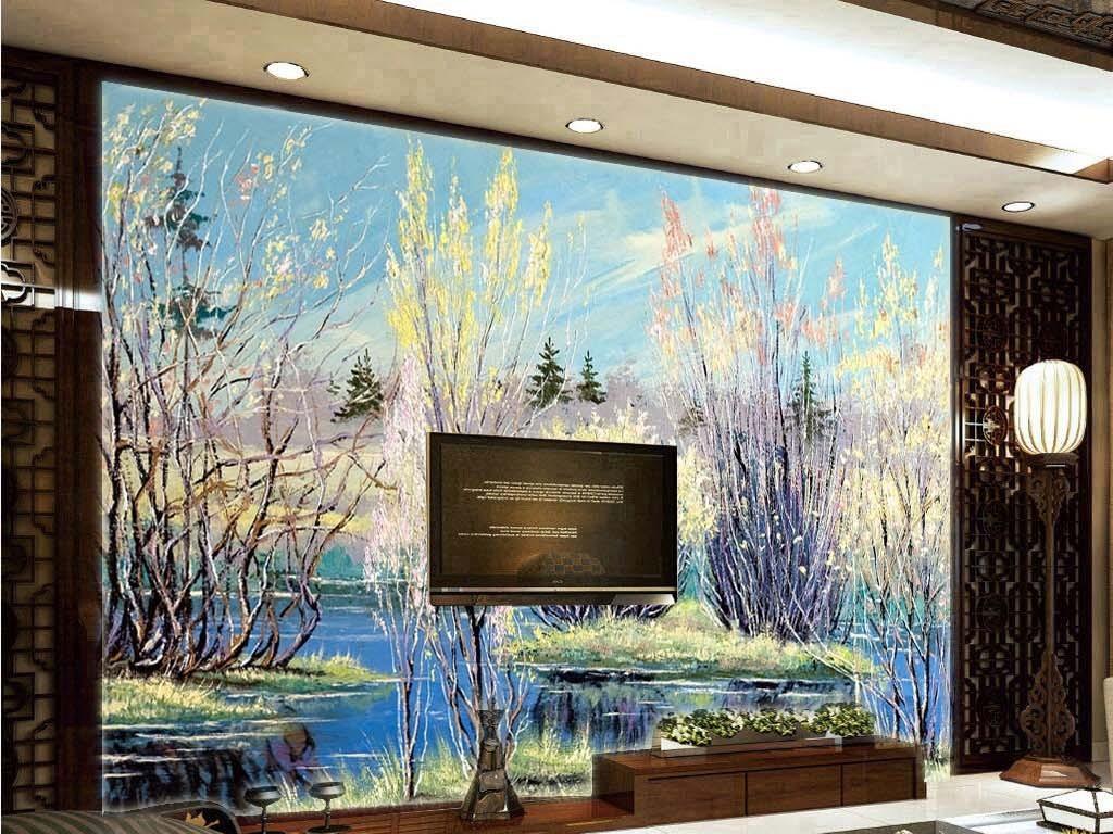 春天花草树木蓝色的池塘湖面倒影电视背景墙