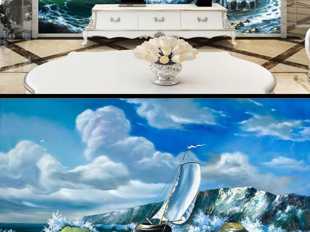 冲浪海浪皮艇帆船蓝天白云大海电视背景墙
