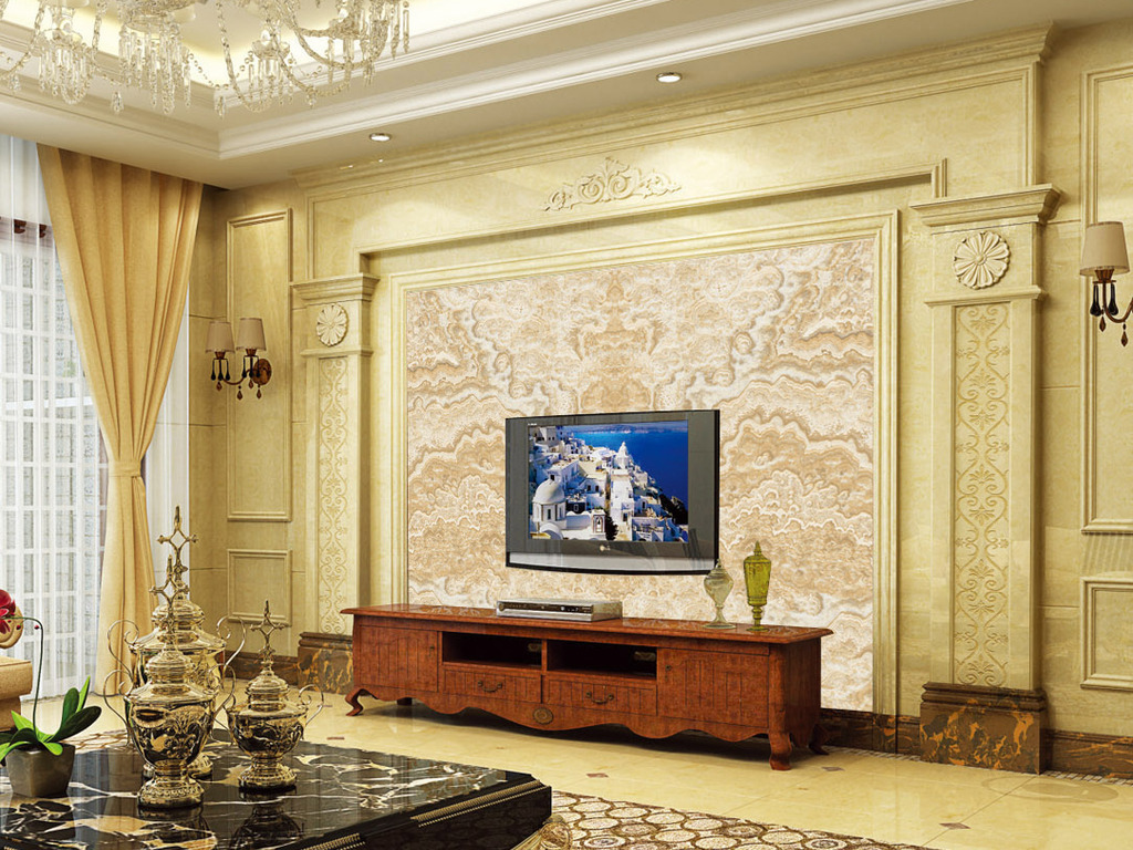 大理石石纹简约现代欧式电视背景墙图片