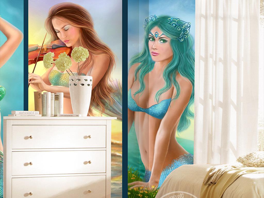 高清唯美美人鱼简约手绘背景墙壁画装饰画