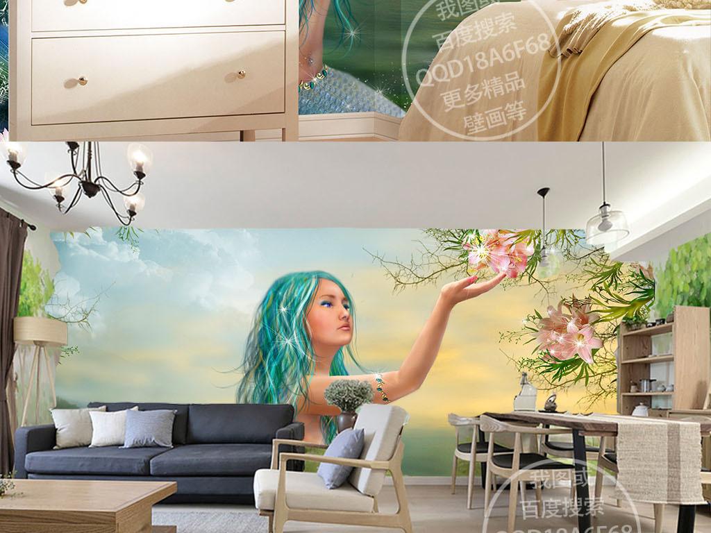 3d背景墙油画手绘背景美人鱼墙壁唯美背景唯美手绘装饰画背景人鱼墙壁