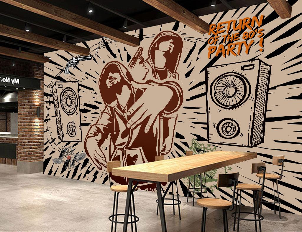 嘻哈手繪背景墻手繪背景畫壁畫壁紙墻紙復古背景搖滾
