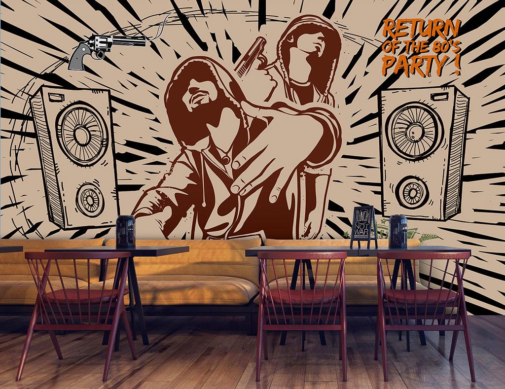背景墙效果图音乐街舞形象墙涂鸦涂鸦墙文化墙嘻哈手绘