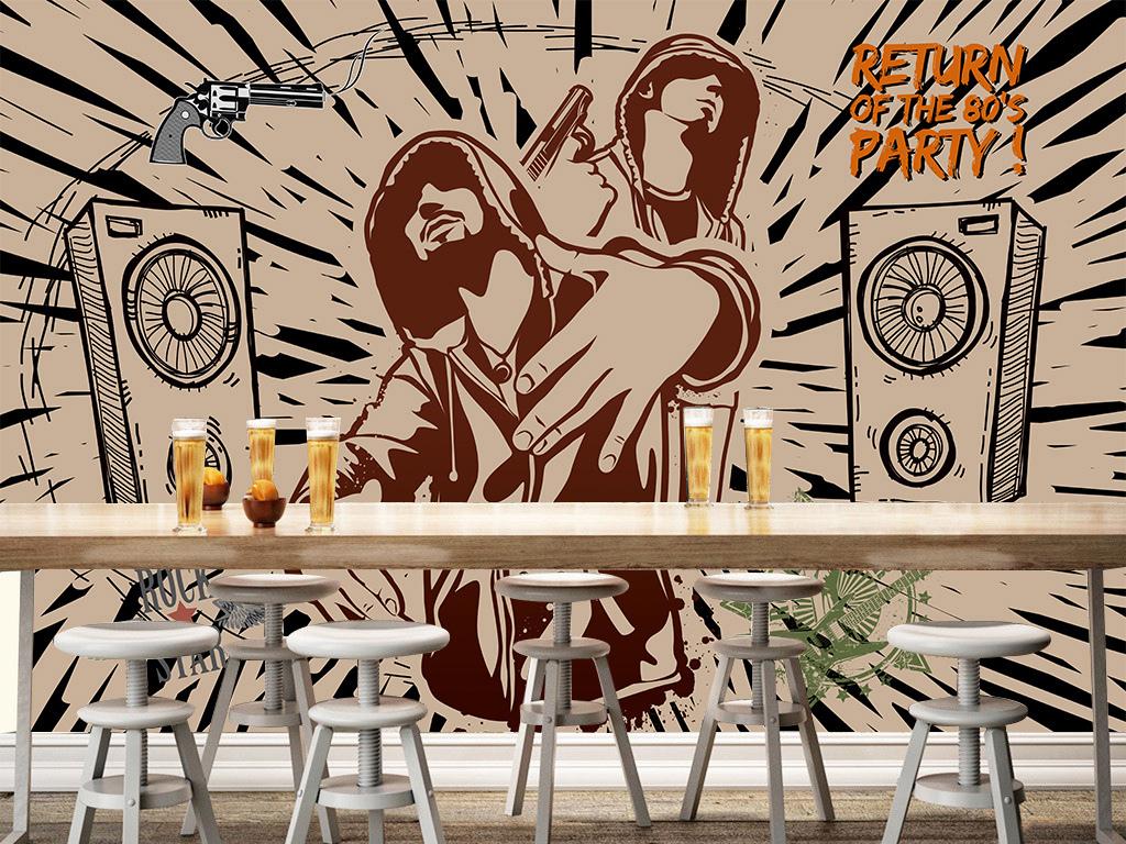 嘻哈手绘背景墙手绘背景画壁画壁纸墙纸复古背景摇滚