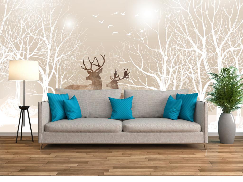 唯美手绘麋鹿森林简约时尚电视沙发背景墙