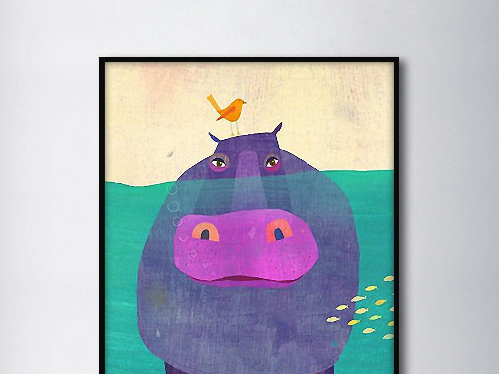 河马与小鸟北欧小清新手绘欧式现代装饰画