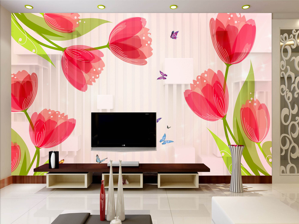 手绘郁金香立体简约时尚背景墙素材