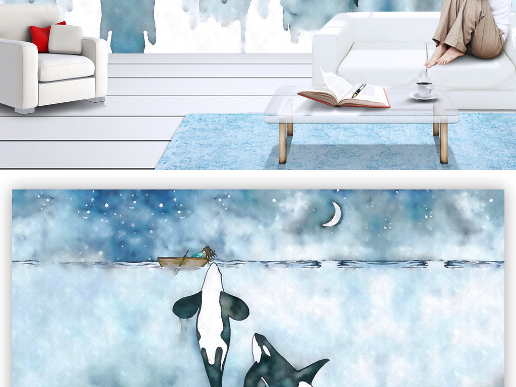 蓝色电视背景墙壁纸素材