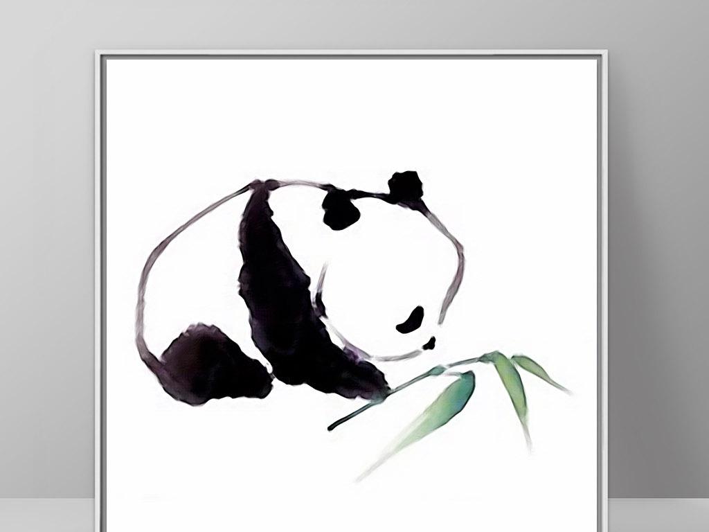 背景墙|装饰画 无框画 动物图案无框画 > 熊猫和竹子北欧现代手绘简约