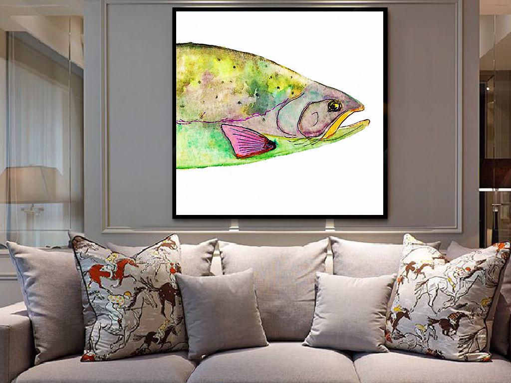 海鱼欧式手绘水彩北欧现代简约家居装饰画