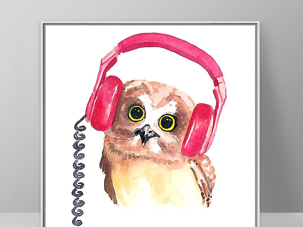 戴耳麦猫头鹰小鸟北欧可爱手绘现代装饰画