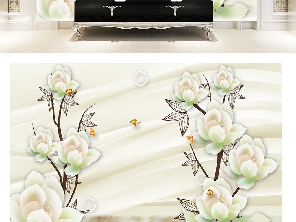 3d简约浮雕牡丹花卉蝴蝶大理石纹背景墙