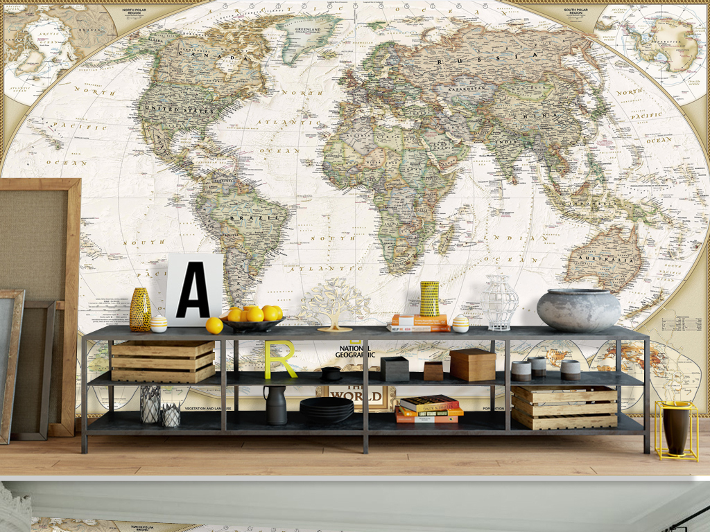 设计作品简介: 复古大气世界地图办公室背景