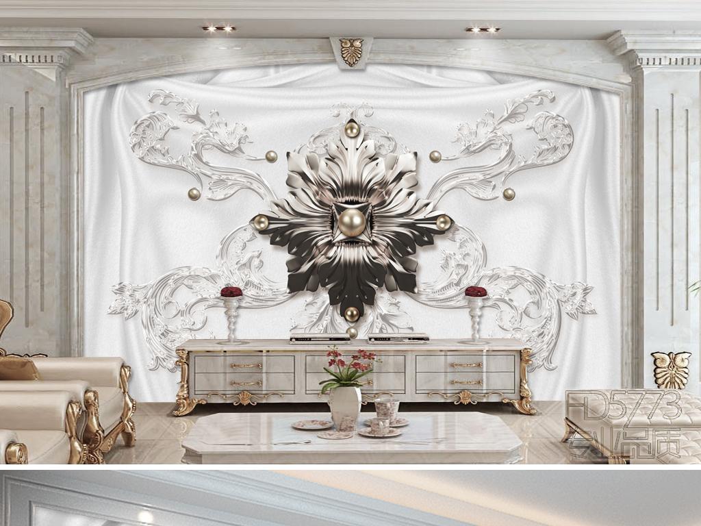 时尚大气奢华欧式花纹珠宝软装电视背景墙