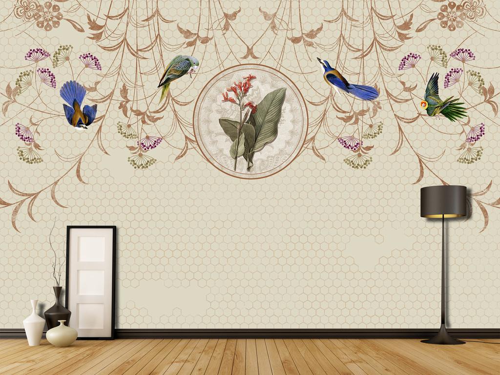 手绘花鸟背景墙新中式装饰画复古背景墙分层
