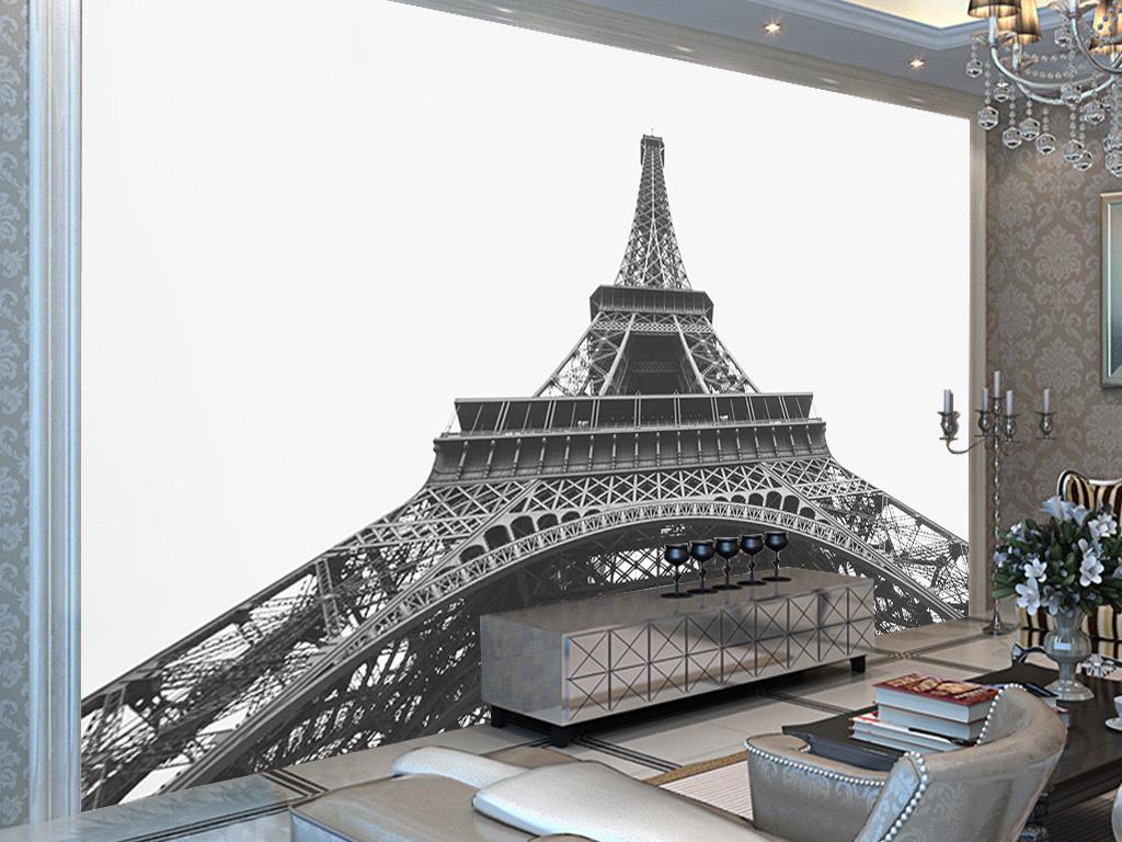 黑白简约巴黎铁塔欧式建筑欧式背景铁塔建筑背景巴黎