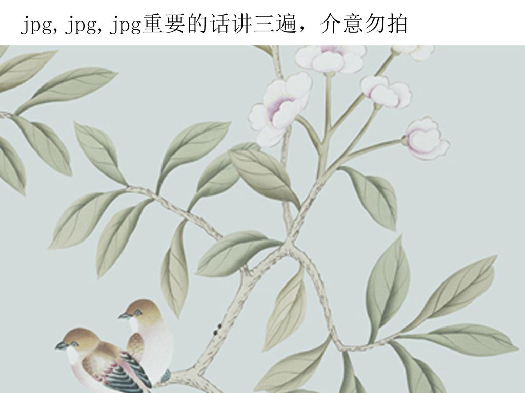 沙发背景床头背景手绘图背景墙欧式花鸟欧式风格美式风格时尚花鸟流行