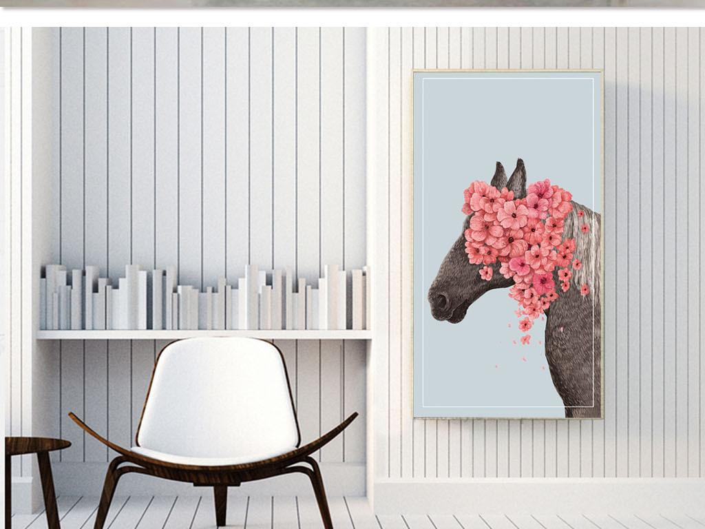 北欧简约风繁花马头装饰画33x60