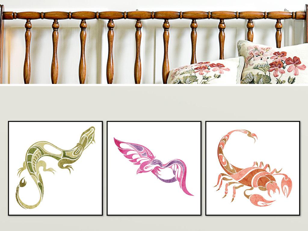 现代民族动物图腾个性大气创意装饰无框画