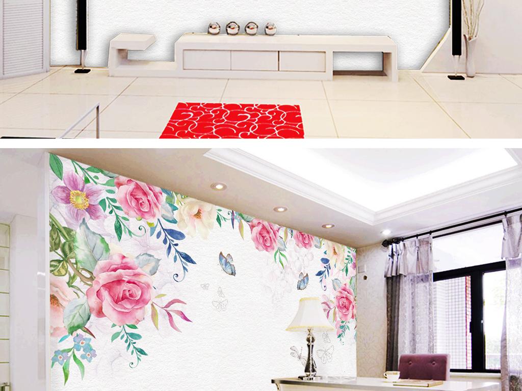 手绘玫瑰电视背景墙
