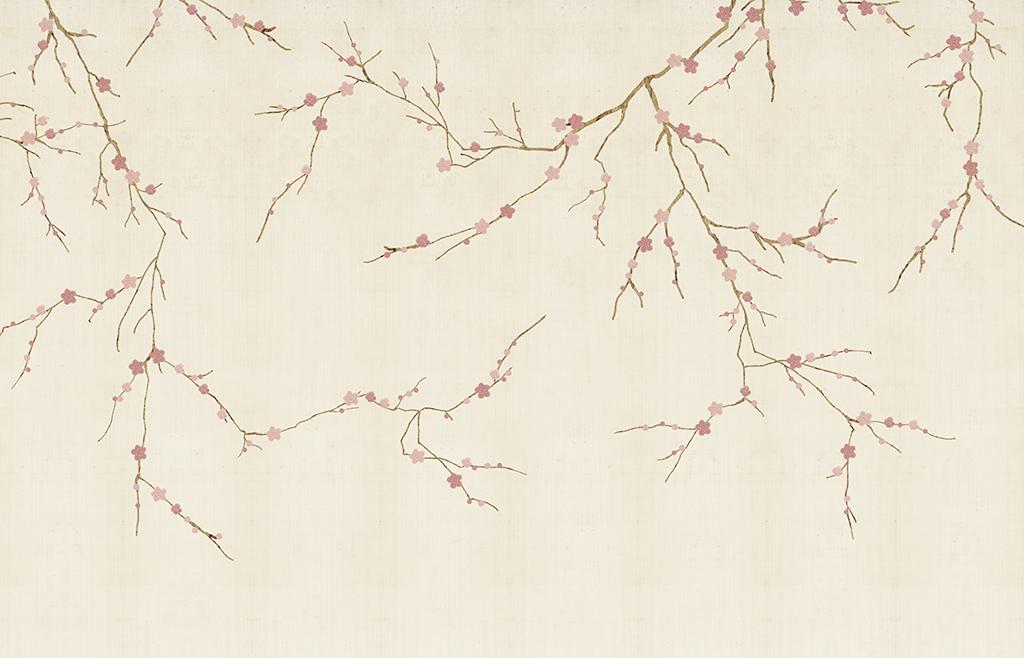 流行新中式手绘现代简约梅花背景墙壁画软包素材下载
