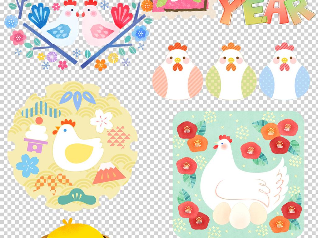 手绘卡通鸡小报素材卡通图标元素新年鸡年大吉新春鸡