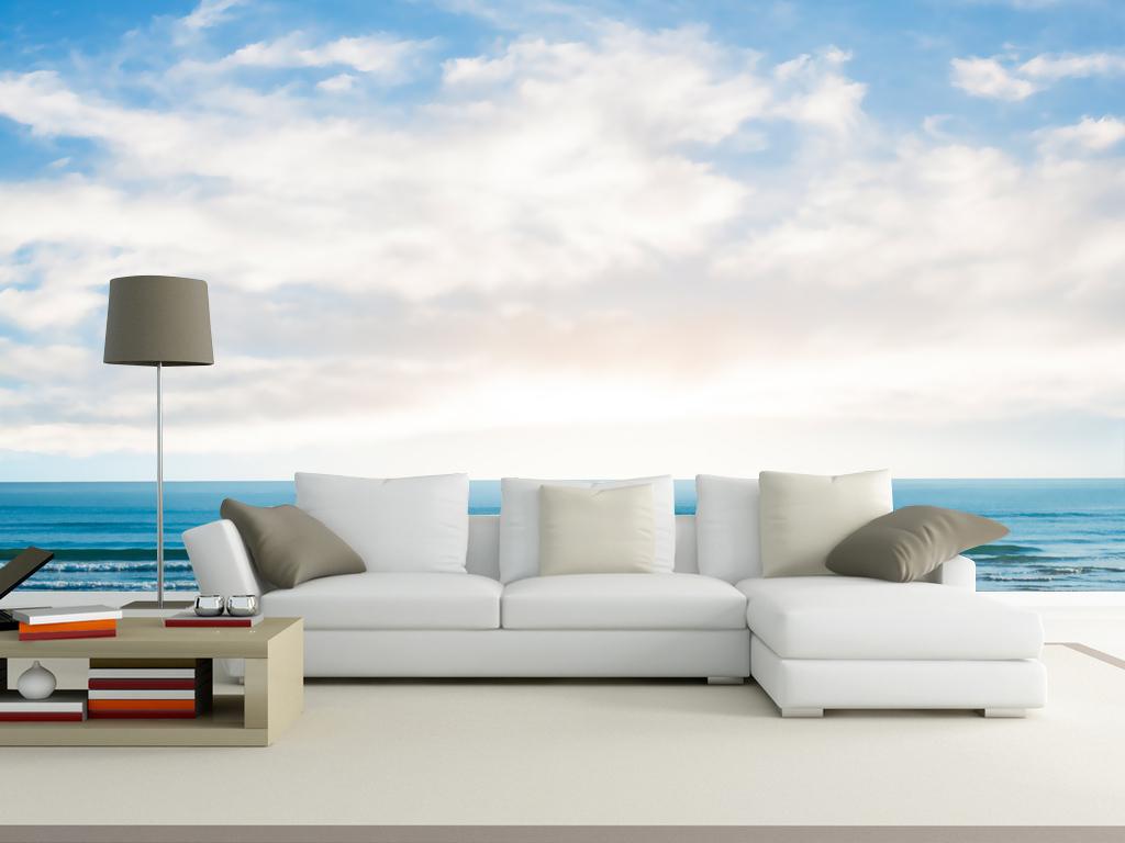 碧海蓝天海天一线北欧宜家风格电视背景墙