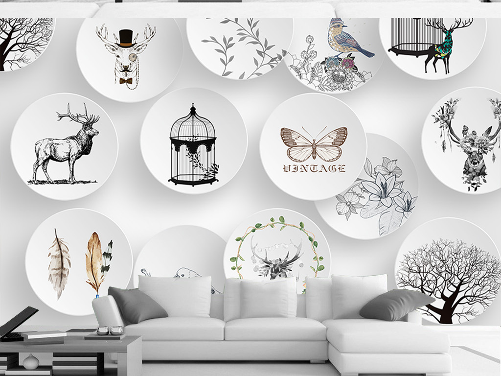3d立体北欧简约麋鹿动物手绘室内背景墙装饰画
