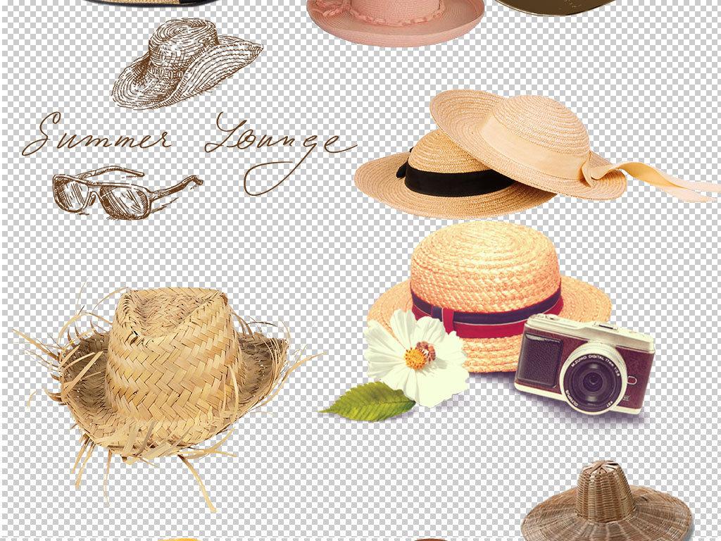 农场帽子沙滩帽防晒帽手绘帽子草帽图片设计元素广告设计ps海报素材