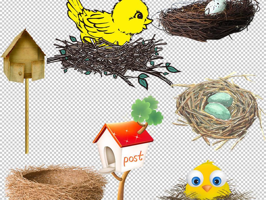小鸟动物鸟手绘鸟巢创意鸟巢绿色花藤小