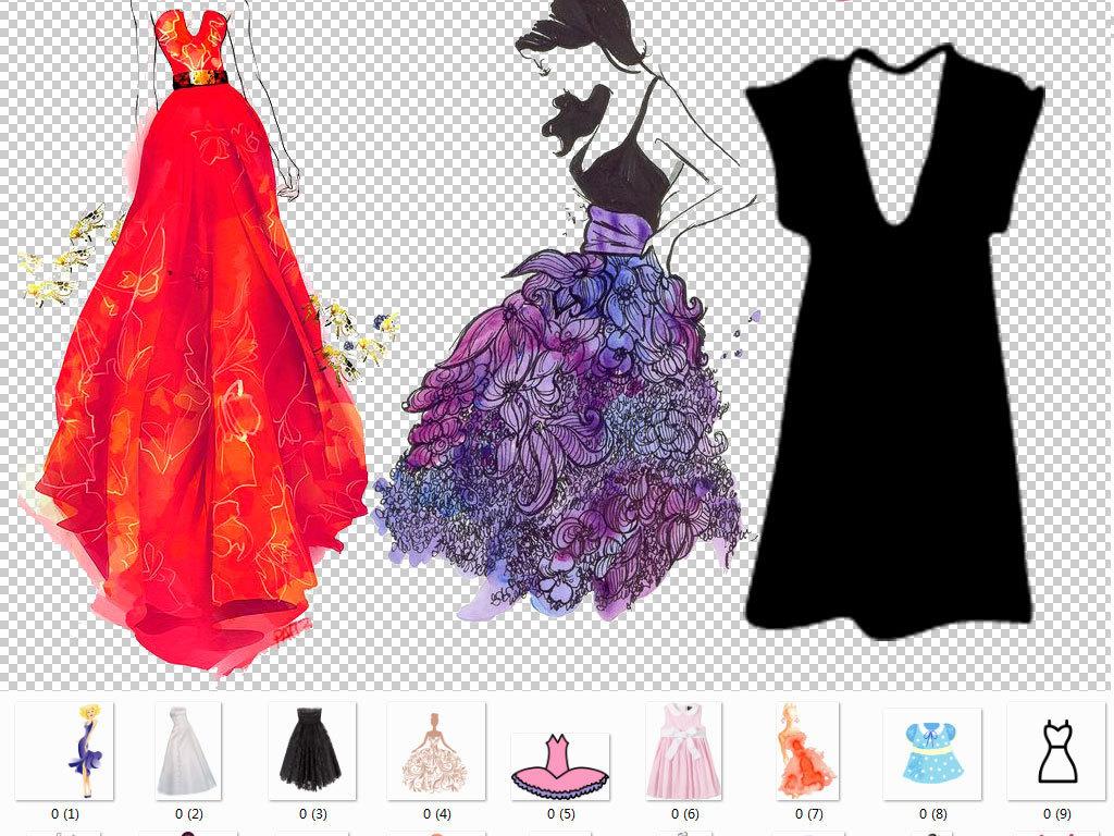 手绘连衣裙长裙美女时装店海报服装女装设计微商微店