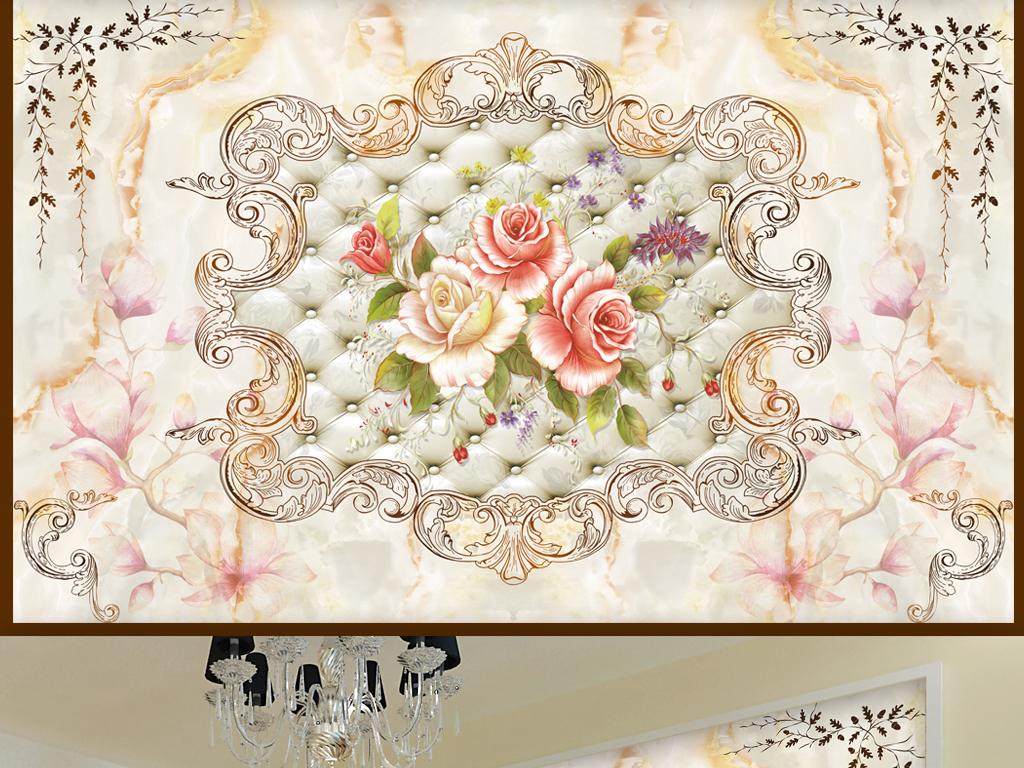 欧式花纹大理石纹软包花朵电视背景墙