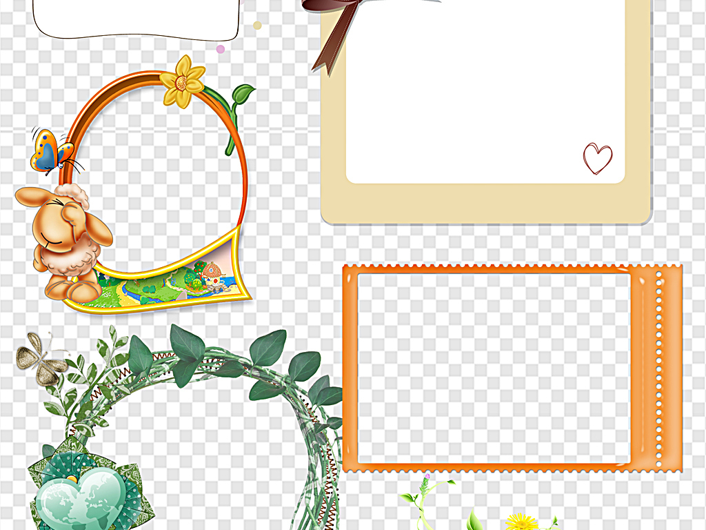 花纹边框 卡通手绘边框 > 简约边框小清新边框对话框线框虚线边框