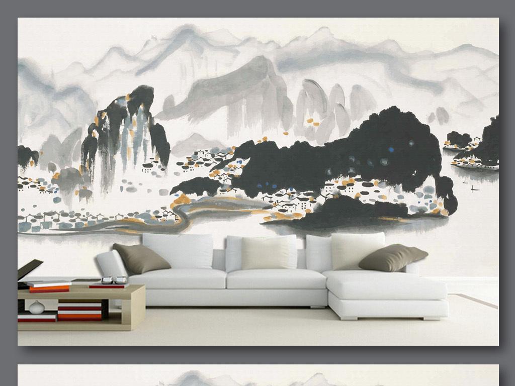 背景墙|装饰画 电视背景墙 手绘电视背景墙 > 手绘吴冠中水墨山水背景