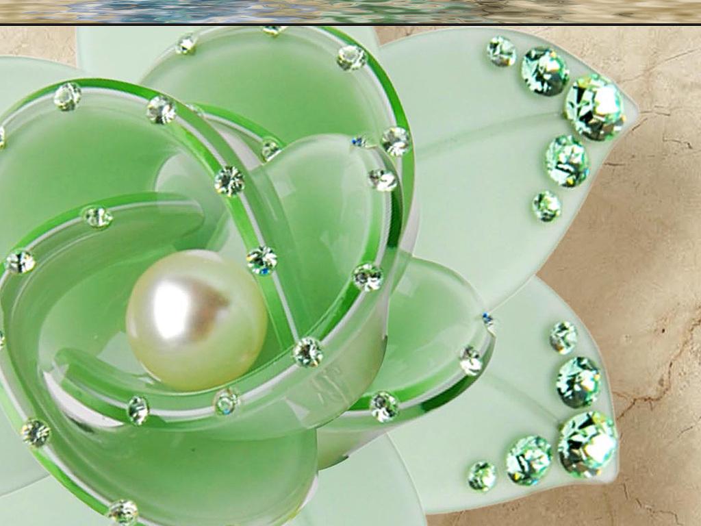 宝石钻石3d花卉3d背景墙欧式玄关豪华酒店玄关水纹